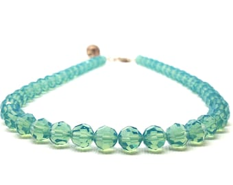 Blue Necklace, Choker, Beaded Jewelry, Blue Beaded Necklace, Swarovski Crystal Jewelry, Blue Necklace