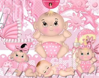 Baby Girl Clipart,  Digital Scrap Kits,  New Baby in Pink Digital Scrapbooking