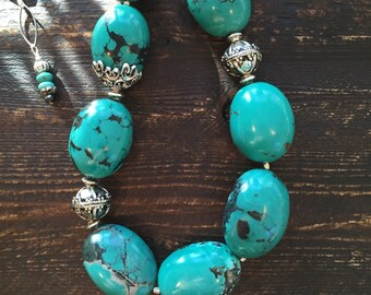 Gorgeous large turquoise necklace with silver accents