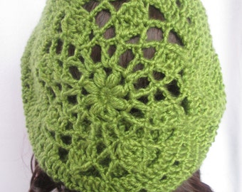 Slouchy Beret - Sunburst Design - Light Green Crochet Beret