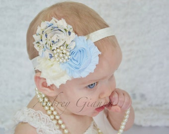 Baby Headband, Vintage shabby chic headband, newborn headband, baby hair bow, baby infant headbands, newborn photo prop, baby accessories