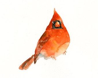CARDINAL-10x8inch print-Art Print-Bird Watercolor Print-Giclee Print-