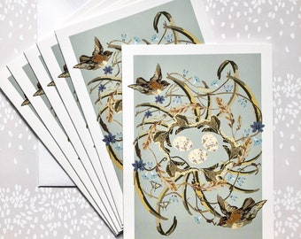 Note Cards Blank Six Pack Nest with Sparrows
