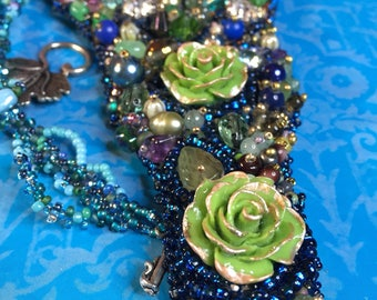 Bead embroidery necklace pendant garden of flowers