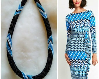 Black white blue wave Gradient necklace Crochet rope Handmade Jewelry