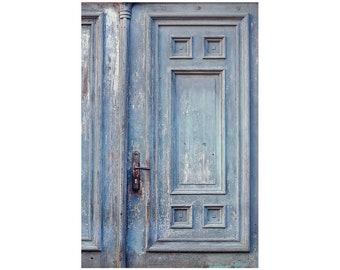 blue old door print. doors Photography. Small Wall Art. Shabby Chic Wall Decor. blue old door print. old door print. rustic door photo.