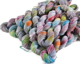 Mini Skeins, Hand Dyed Yarn, Sock Weight, Superwash Merino Yarn, Knitting Yarn, Sock Yarn, Multi-colored, rainbow, speckled - Silver Lining