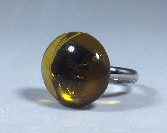 Honey Glass Pebble Adjustable Ring