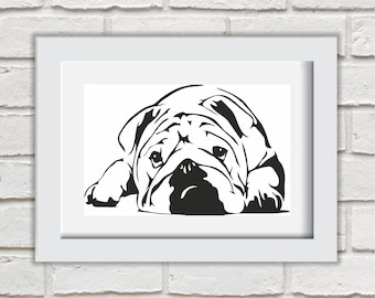 Bulldog Pet Framed Quote Print Mounted Word Art Wall Art Decor Typography Inspirational Quote Home Gift