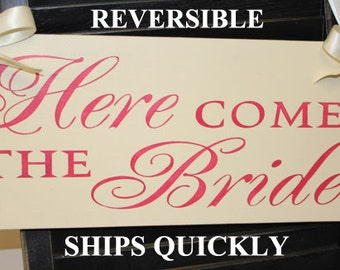 Here Comes the BRIDE Sign/Photo Prop/Watermelon/Great Shower Gift/Reversible Options/Wood Sign/Wedding Sign/U Choose Back/Fast Shipping