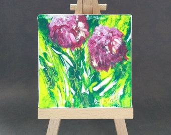 Pink flowers box canvas with easel