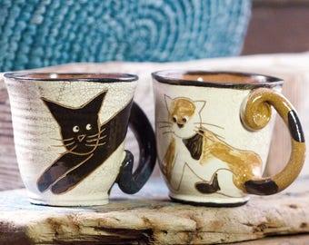 Handmade ceramic mug, Handpainted mug, Vintage pottery, Kitty cat mug