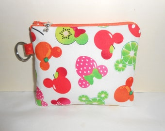 Minnie Mouse fruit inspired coin bag/key chain/gift card holder/coin purse