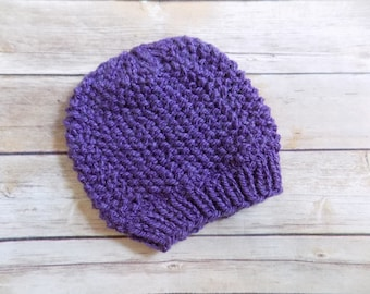Purple Knit Hat, Baby Beanie, Baby Girl Winter Hat, 3-6 Months