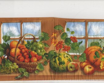 3145 - Lot 5 napkins paper grapes apples and pumpkins