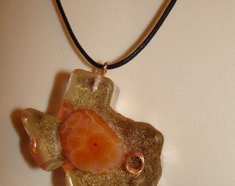 Texas pendant orange rock in resin