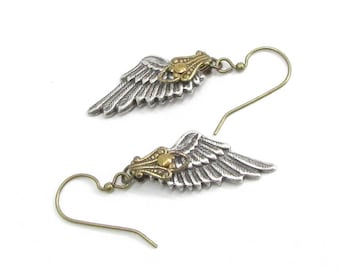 Angel Wing Earrings, Small Angel Wings, Angel Jewelry, Memorial Gift, Lightweight Earrings, Fallen Angel Earrings, Gift Under 30, Skyward