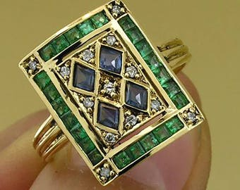 C101 Genuine 9K Solid Yellow Gold NATURAL Sapphire,Emerald & Diamond Ring made in your size Art-deco Vintage style
