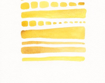 Original artwork on paper. Abstract yellow painting. Modern home decor.