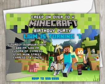 Minecraft birthday invitation etsy minecraft birthday invitation printed invitation 5 x 7 filmwisefo Gallery