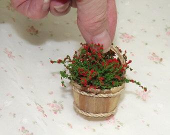 Miniature Plants Filled Baskets. Dollhouse Garden Accessories. Miniature Plants, Flowers. Dollhouse Flowers.  Barbie Accessories, Plants
