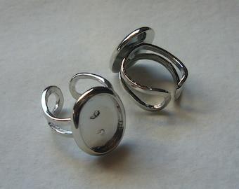 12 oval silver tone 18x13 bezel ring blanks