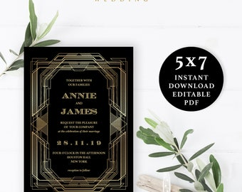 Great Gatsby Wedding Invitation, Wedding Invitation Template, 5x7, Instant Download Printable, Editable PDF, EWIN009