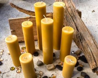 """100% Pure beeswax candle-scented or unscented-pillar candles-beeswax candles-2"""" diameter pure beeswax candle-beeswax pillar candle. 3""""-15"""""""