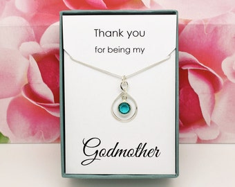 Godmother necklace gift sterling silver baptism gift, christening gift, thank you for being my godmother jewelry Easter gifts