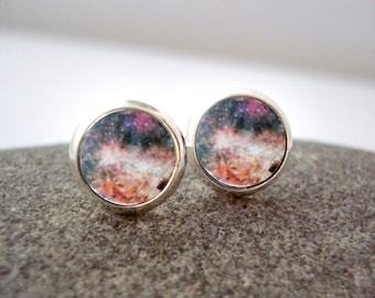 Omega Nebula Earrings - Tiny Silver Petite Silver Galaxy Studs- Science, Astronomy, Universe, Outer Space, Cosmos, Pink Peach Orange