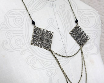 Black and bronze art deco inspired necklace