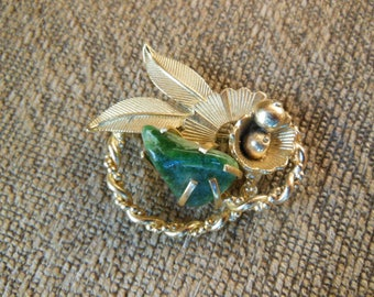 Vintage BSK Gold Tone Brooch Pin with Jade Stone