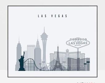Las Vegas print, Poster, Wall art, Nevada cityscape, Las Vegas skyline, City poster Typography art Home Decor Digital Print ArtPrintsVicky.