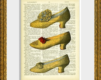 Dictionary Art Print THREE YELLOW SHOES - antique dictionary page with a French Fashion  illustration - home decor - vintage charm