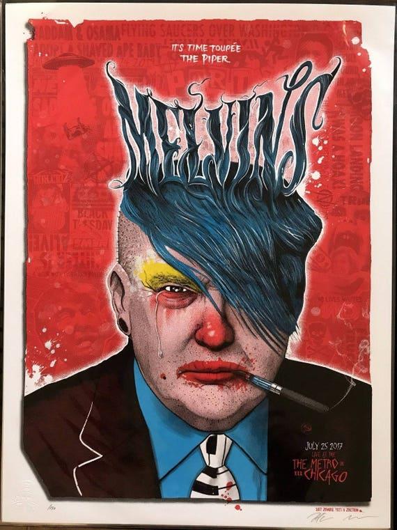 Marco 11 x 17 reimpresión de Melvins Presidente Trump Chicago