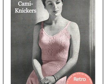 1940s Ladies Cami-Knickers - Lingerie Knitting Pattern - PDF Knitting Pattern - Instant Download