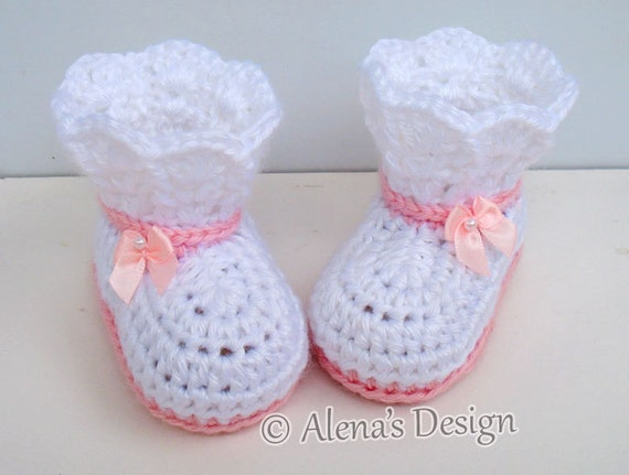 Crochet Booties Pattern - Crochet Pattern 165 - Booties Crochet Pattern - Lace Top Booties Baby Booties Pattern Slipper Pattern Newborn