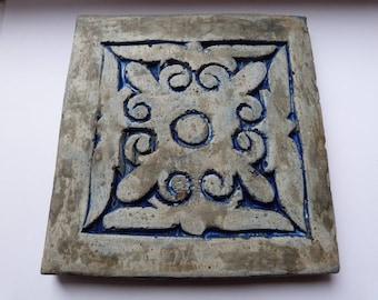 Concrete trivet / pot stand / mat, decorative teapot stand, cement painted pan stand, home decor, handmade blue grey large coaster