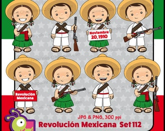 60% off Mexican Revolution Day Clipart, adelitas, México clipart, school clipart, illustrations November 20th 1910, Set 112