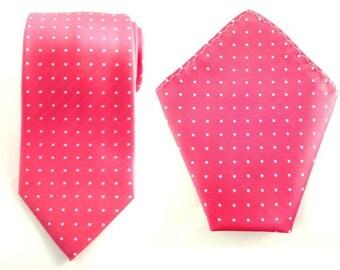 Mens Necktie Pink White Polka Dots 8.5cm Necktie with Pocket Square. Pink Wedding Necktie. Pink Pocket Square. Groomsmen Tie. Handkerchief
