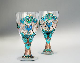 Goblets, Tree of Life Glasses, Wine Glasses, Wedding Glasses, Anniversary Glasses, Hand Painted Set of 2