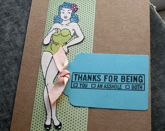 Rude Thank You Card Sarcastic Thank You Card Funny Pin Up Girl Card