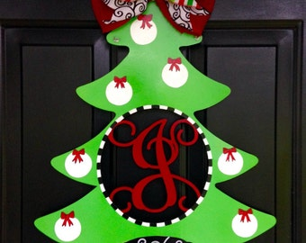 Christmas Tree Door Hanger, Christmas Tree Initial Door Hanger, Holiday Door Hanger, Custom Door Hanger
