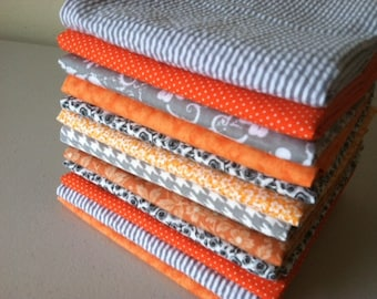 Orange and Grey Cloth Napkins, Set of 12, 15 inch, by CHOW with ME