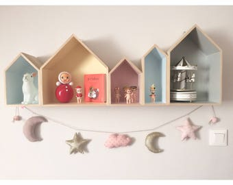 Star Garland - Moon - cloud with glitter for girls (optional) - a star in my cabin