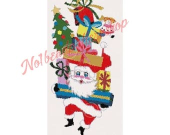 Jolly DANCING SANTA-Peyote 2 DROP Holiday Tapestry Bead Pattern Instant Download tbp003