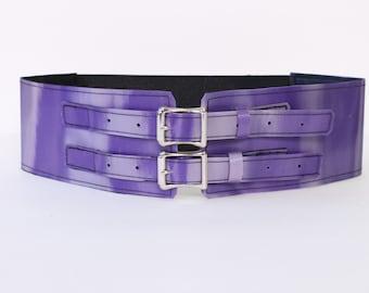 "Lavender / purple 3"" Belt with Aluminum Buckles"