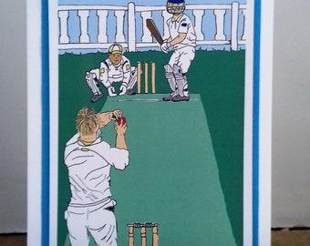 Cricket/ cricket gifts card/ cricket card/ cricket print. Original drawing print. Blank greetings card. Good for lots of occasions. Handmade