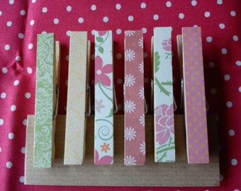Garden party decoupage fridge magnets clothespins shabby chic pegs