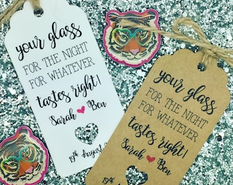 Drink Glasses / Shots Wedding Favour Tags, Mason Jar, Alcohol Cup, Grab Your Mug